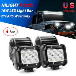 Nilight 4x 4in 18w Pods Led Light Bar Flood Fog Driving Lights For Suv Off Road