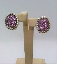 Slane And Slane Pave Nuage Sterling Silver Pink Sapphire Post Clp Earring 3.36tgw