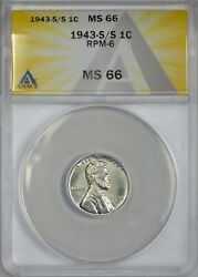 1943 S/s Steel Lincoln Cent Anacs Ms66 - Repunched Mint Mark Rmp-6