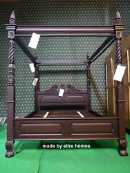 Super King 6and039 Dark Antique Mahogany Queen Anne Style Four Poster Mahogany Bed