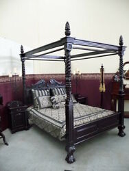 Super King Size 6and039 Natural Black Queen Anne Style Four Poster Mahogany Bed