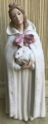 Cybis Porcelain Figurine Melissa Girl With Rabbit Pink Bow 10 Tall