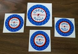 Crest Supply 1982 1984 1985 1986 Lot Of 4 Coal Mining Hard Hat Stickers
