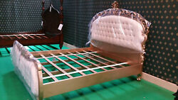 Uk King Size 5' Champagne Gold Leaf Mahogany Baroque Oriental French Clara Bed