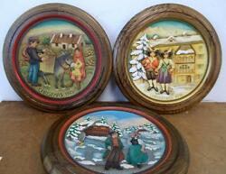 Anri Christmas Plates 3 Collectible Plates 1974, 1975 And 1976 Great Condition