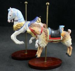 Franklin Mint Treasury Of Carousel Art 2 Figurines Patriot Horse Goat Great Cond