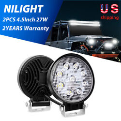 27w 2pcs 4.5 Round Led Lights Offroad Spot Car Lamps For Suv Atv Tractor 3000lm