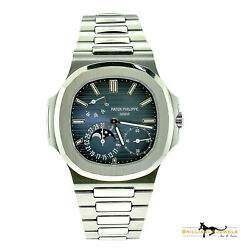 Patek Philippe 57121A-001 Nautilus Steel Watch Date Moon Phases BOXPAPER (P-1)