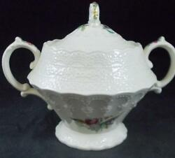 Spode Heath And Rose Sugar Bowl With Lid Jewel Shape Great Condition