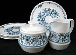 Noritake Blue Moon Creamer, Sugar, 3 Bread And Butter Plates 9022 Great Condition