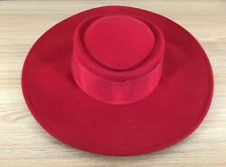 Vintage Mid Century Bollman Americana Womens Red Hat Usa Made Boater Brim