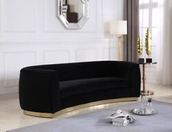 Sofa Love Seat Chair & Chaise Black Velvet Gold Stainless Base Curved Design 4pc