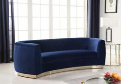 Sofa Love Seat Chair & Chaise Navy Velvet Gold Stainless Base Curved Design 4pc