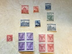 16 Unc 2 Block Germany 3rd Reich Occupied Bohemian Marovia Stamp Hitler Stamp
