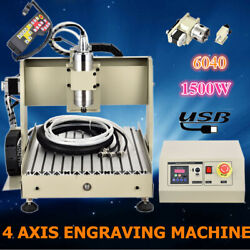 USB 4Axis CNC Router Engraver 6040 1.5KW VFD Drilling Milling Machine+Controller