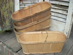 Vintage Farm Produce Shaved Wood Market Baskets W/ Wire Handles - Lot Of 4 -