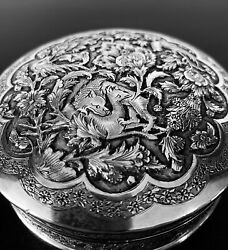 Antique Hand Engraved Persian Islamic Arabic Solid Silver Round Box 198 G