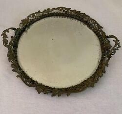 Antique French Victorian Bronze Mirror Plateau Vanity Tray Reticulate
