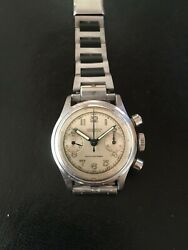 Vintage 40and039s Military Lumier Watch Venus 150 Stainless Steel Chronograph 220261