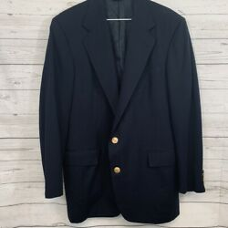 Classic Polo Navy Brass Button Blazer Jacket 42 L Made In Usa