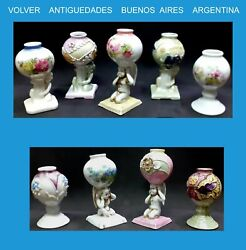Interesting Old Collection Of 8 Porcelain And 1 Pottery Mates Ca 1920 Angel Putto