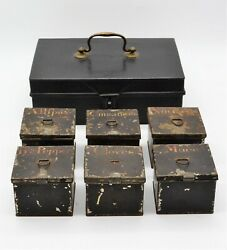 Metal Spice Caddy 6 Tins Labeled 9 X 6 X 3 1/4 Antique