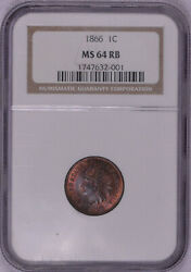 1866 1c Ngc Ms64rb Red Brown Indian Cent Great Color Free Shipping