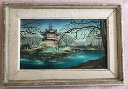 Choi Signed Pagoda Painting On Canvas Vintage Oriental Asian
