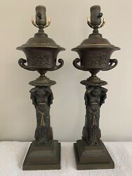 Antique Regency Caryatid Bronze Lamp Pair Attributed Thomas Messenger And Sons