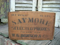 Antique Vintage Prunes Fruit Box Wooden Crate Saymore Brand- W. G. Bonsor And Co.
