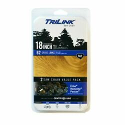 New Trilink S62 Two-pack Replacement Saw Chain 18-inch Fits Echo Poulan Homelite