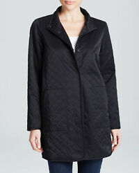 New Eileen Fisher Quilted Long Black Jacket With Fleece Lining Size S C650