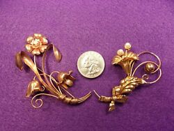 Rare Pair Of Gorgeous 10k Rose And Yellow Gold And Pearl Flower Brooches / Pins