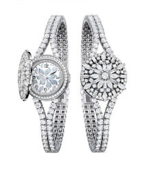 Solid 925 Sterling Silver Womenand039s Wrist Watch Round Bracelet Open Case Gift Stud