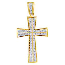 Round Simulated Diamond Men's Cross Pendant 14k Gold Over 925 Sterling Silver