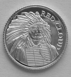 100 1 Gram .999 Pure Silver Red Cloud Chief Of The Oglala Sioux Indians 2b
