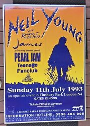 Neil Young And Pearl Jam Concert Poster Finsbury Park London Music Festival Uk 93
