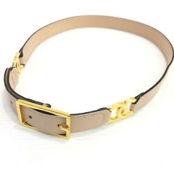 CHANEL Authentic Women's Belt Beige Leather Gold Buckle Coco Mark L:72cm