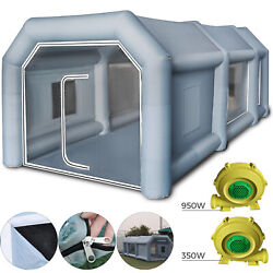 26x15x10Ft Inflatable Spray Paint Booth Custom Tent Car + Filtration System Grey