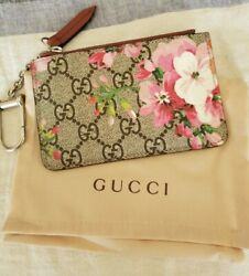 Auth GUCCI GG Bloom Coin Card Key Holder Pink GG SupremeLeather - EUC!