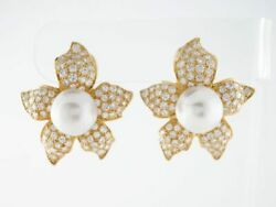 2.60ct Natural Round Diamond 14k Solid Yellow Gold Pearl Omega Back Stud Earring