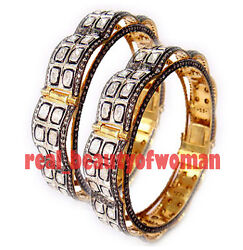 Vintage Victorian 16.45cts Real Rose Antique Cut Diamond .925 Silver Bangle Pair
