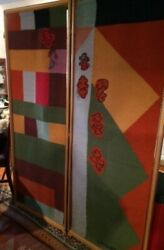 Paul Klee-inspired Privacy Screen, Room Divider, 3 Woven Panels By Famous Artist