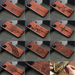 Cute Wolf Mask Natural Wood Carving Hybrid Cover Case For Iphone 12 11 Pro Max 8