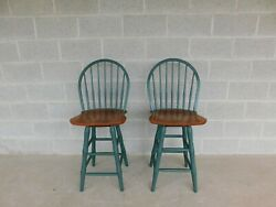 Nichols And Stone Hoop Back Windsor Style Counter Stools - A Pair