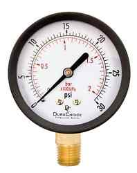 2-1/2 Utility Pressure Gauge For Water Oil Gas 1/4 Npt Lower Mount Blac...