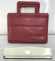 Classic Franklin Covey Planner Red Sim Leather Zip 1.25 7 Rings Handles Purse