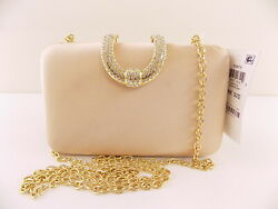INC $79.5 DANYELE Gold Clutch PURSE PARTY SATIN CHAMPAGNE HANDBAG E11 $10.37