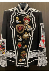 DOLCE & GABBANA NWT Black Military Jacket Lace, Embroidery Hearts Jewels Cards42