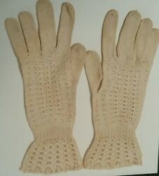 Wearable! circa1910 Antique Victorian Knit Lace Driving Bridal Gloves STEAM PUNK $15.00